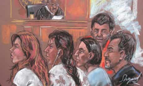 Five of the Russian spy suspects in a New York courtroom
