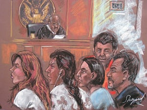 Russian spy ring: A court drawing shows five of the ten arrested Russian spy suspects