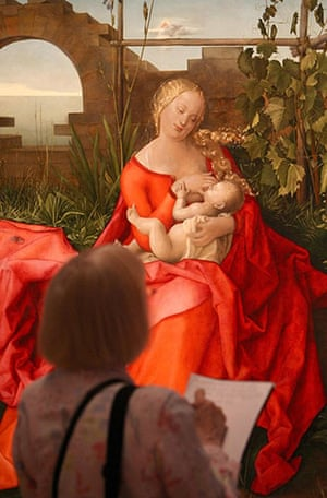 Fakes National Gallery: A visitor views The Madonna with the Iris, originally attributed to Durer