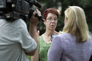 Russian spy ring: Margo Sokolow is interviewed by the media in front of her home