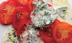 Tomato salad with basil cream