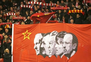 Rafa's Replacements: Liverpool fans show a banner celebrating their trophy winning managers