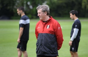 Rafa's Replacements: Fulham manager Roy Hodgson keeps watch at a training session