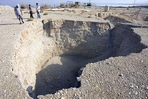 Sinkholes: 2008, Jordan: A sinkhole near the Ein Gedi Spa