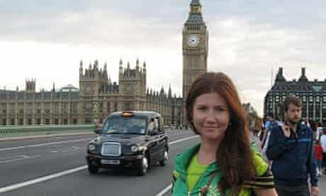Anna Chapman on Westminster bridge, London