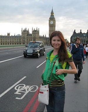 Russian secret agents: Anna Chapman on Westminster Bridge, London