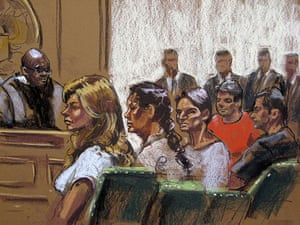 Russian secret agents: Russian spy suspects in a courtroom sketch