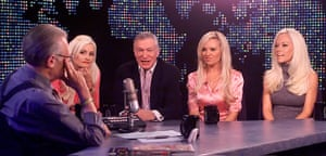 Larry King retires: 2005: Hugh Hefner and his three girlfriends on Larry King