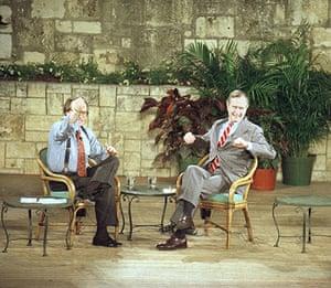Larry King retires: 1992: US President George Bush talks with Larry King