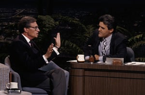 Larry King retires: 1989: The Tonight Show Larry King during interview with guest host Jay Leno