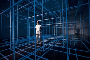 Antony Gormley Test Sites: Anthony Gormley stands inside his new installation Breathing Room III