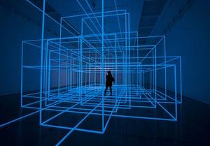 Antony Gormley Test Sites: A visitor explores Breathing Room III, a new work by Antony Gormley
