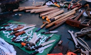 IDF picture of Gaza activists' weapons