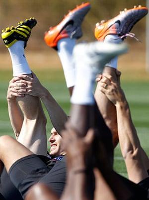 England training: England's Barry stretches