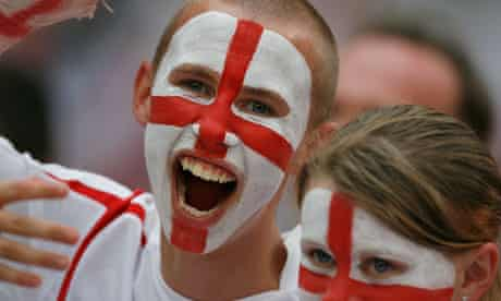 England football fans watch the England v Sweden game in Cologne