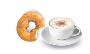 A marriage made in heaven: a cappuccino and a doughnut.