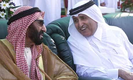 Sheikh Saqr bin Mohammed al-Qassimi, ruler of Ras al-Khaimah, with ousted crown prince Sheikh Khalid