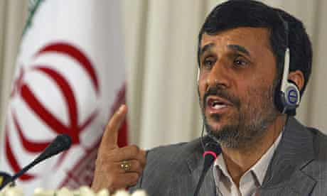 Mahmoud Ahmadinejad at a news conference in Istanbul