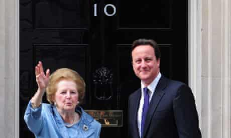 Lady Thatcher and David Cameron outside No 10 on 8 June 2010.