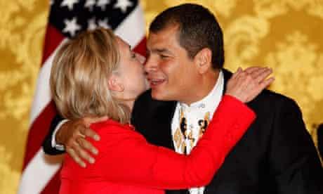 Hillary Clinton and the Ecuadorian president, Rafael Correa, at their press conference in Quito