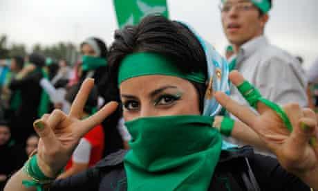 A supporter of Mir Hossein Mousavi in Iran