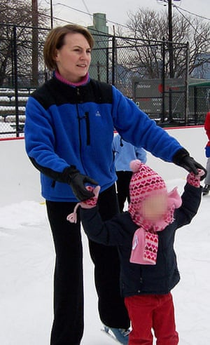 Russian spies: Cynthia Murphy skates with her child