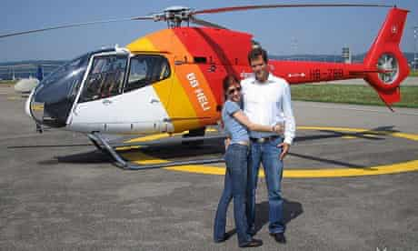 Anna Chapman in Switzerland with a male companion shortly before a helicopter tour.
