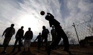 Kids play football in Bloemfontein