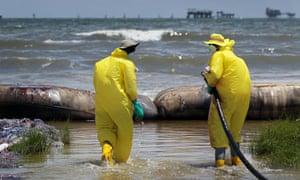 Polluted beach, Port Fourchon, Louisiana