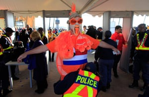 sport: A Dutch fan is checked by the police