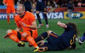 footy: Spain's Puyol commits a foul