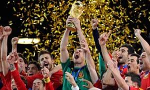 Spain's captain Iker Casillas lifts the World Cup trophy.