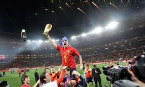 David Villa with World Cup trophy