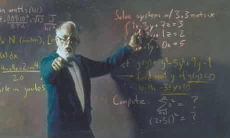 Maths teacher at a blackboard