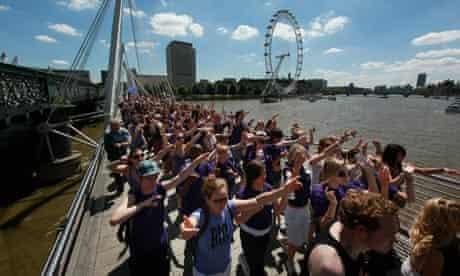 Big Dance participants on the Golden Jubilee bridge