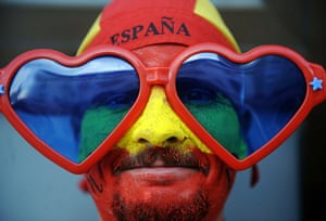 24 hours in pictures: Camas, Spain: A supporter of the Spanish team