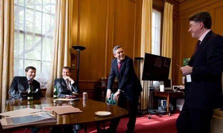 Gordon Brown with Douglas Alexander, Alastair Campbell and Lord Mandelson