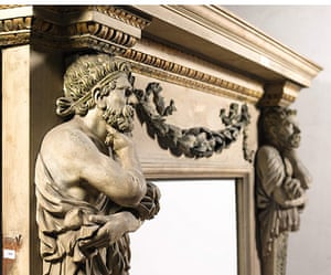 Chatsworth House auction: A carved, painted, faux-marble and gilt chimneypiece
