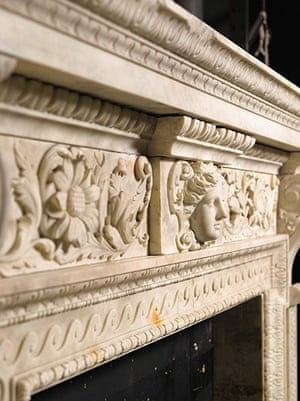 Chatsworth House auction: A detail of a George II carved white marble chimneypiece