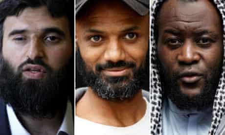 Former Guantanamo Bay detainees Omar Deghayes, Binyam Mohamed and Martin Mubanga.