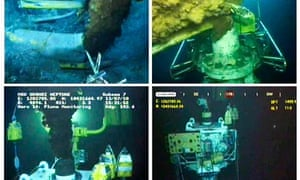 Images of the BP oil spill before and after the cap was put in place