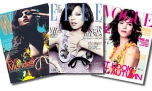 The covers of the August editions of W, Elle and British Vogue.
