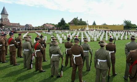 War cemetery dedicated to Australian and British soldiers who died in battle of Fromelles in France