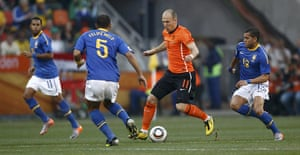 Netherlands v Brazil: Brazil's Felipe Melo fights for the ball against Netherlands' Arjen Robben