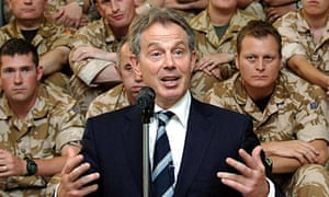 Tony Blair speaks to British soldiers in Iraq in 2007