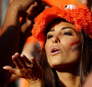 Netherlands versus Brazil: Netherland fan blows a kiss