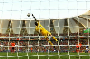 Netherlands versus Brazil: Netherlands' keeper Maarten Stekelenburg claws away a shot from Kaka
