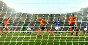 Netherlands versus Brazil: Netherlands players celebrate Melo's own goal