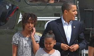 Barack, Malia and Sasha Obama