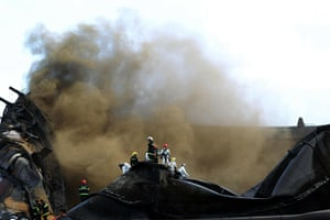 Dalian oil fire in China: The photo taken on July 18, 2010 shows f